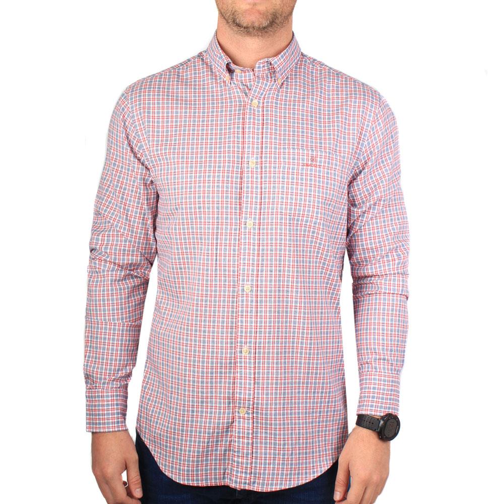 Gant Tech Prep Oxford regular shirt in red//white gingham check rrp £99.00